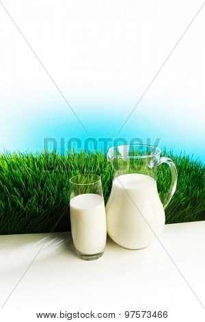 Glass of milk and jar on fresh grass meadow with chamomiles