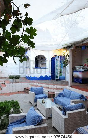 Classic Greek Tavern Courtyard