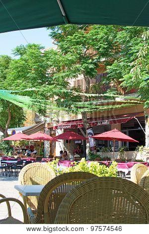 Valldemossa Street Scene With Restaurant