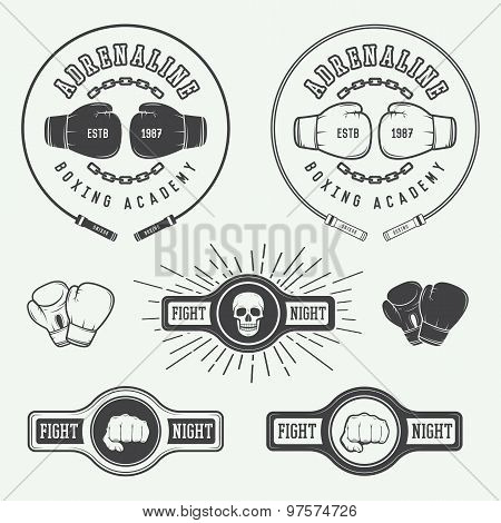Boxing And Martial Arts Logo Badges And Labels In Vintage Style.