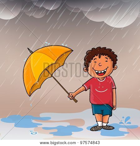 Cute smiling boy with umbrella enjoying in rains for Happy Monsoon concept.