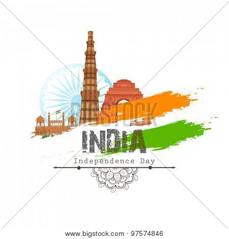 Illustration of famous Indian monuments with national flag colors on shiny background for Independence Day celebration.