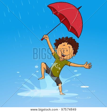 Cute little boy holding umbrella and dancing in rains on shiny blue background.