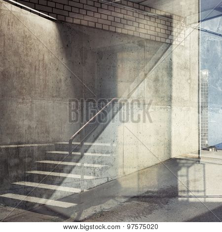 Abstract multiple exposure urban background. Architectural details.