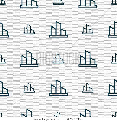 Diagram Icon Sign. Seamless Pattern With Geometric Texture. Vector