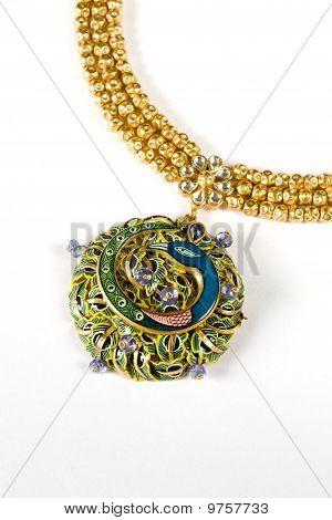 Close up of diamond necklace