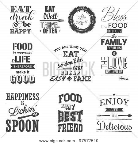 Set of vintage food typographic quotes