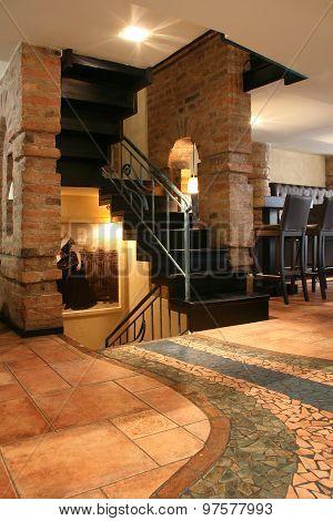 Modern Cafe Bar Interior Stairway
