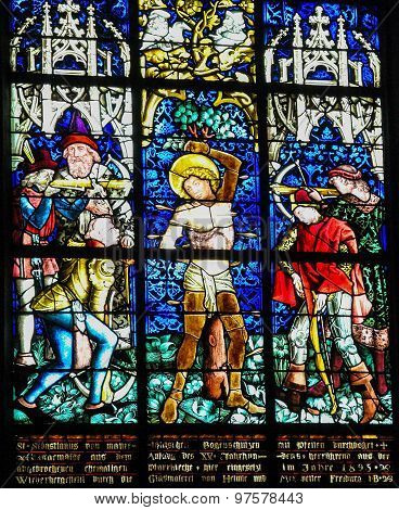 Martyrdom Of Saint Sebastian - Stained Glass In Obernai