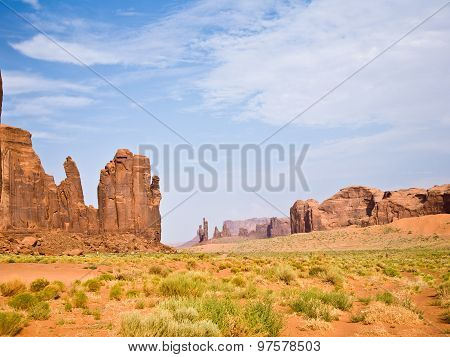 The Bird And The Hand Buttes Are Giant Sandstone Formations In The Monument Valley