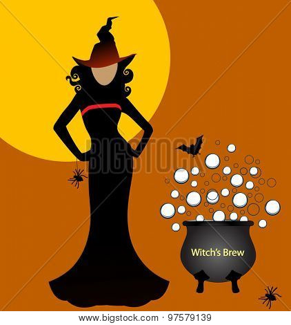 Sexy witch with brew