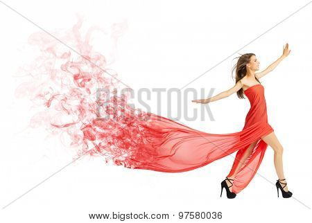 Young girl in long red cloth isolated (smoke version)