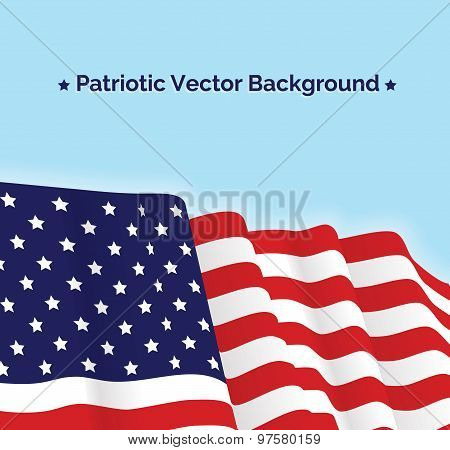 American flag, patriotic vector illustration