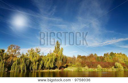Wonderful View Of Autumn Lake.