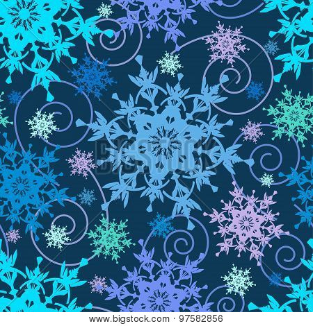 Bright Seamless Pattern With Colorful Snowflakes