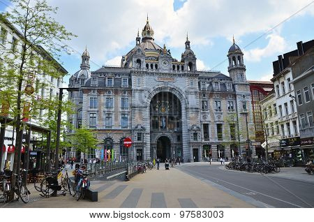 Antwerp, Belgium - May 11, 2015: Exterior Of Antwerp Main Railway Station