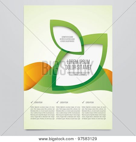 Vector business brochure, flyer template. Modern green and orange corporate design.