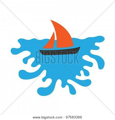 Sailing boat on the water, vector logo icon