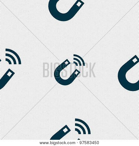 Magnet Icon Sign. Seamless Pattern With Geometric Texture. Vector