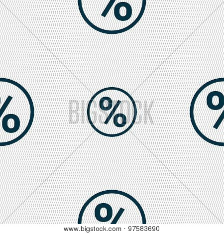 Percentage Discount Icon Sign. Seamless Pattern With Geometric Texture. Vector