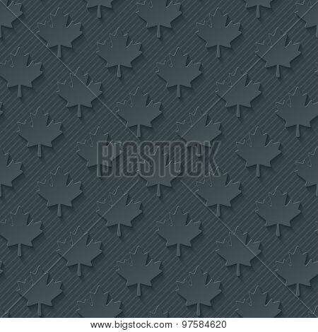 Dark gray maple leaves wallpaper. 3d seamless background. Vector EPS10.
