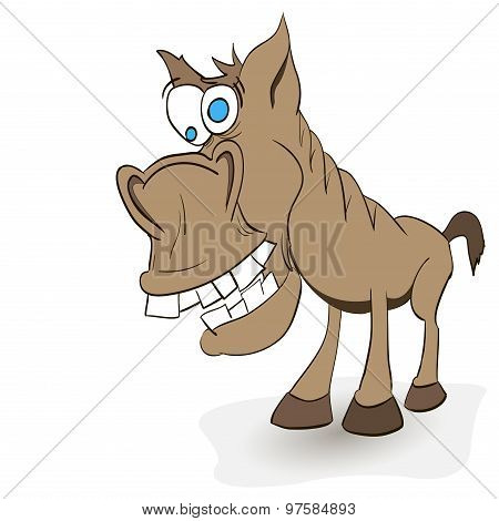 Fun Crazy Horse With Protruding Teeth And Hoof