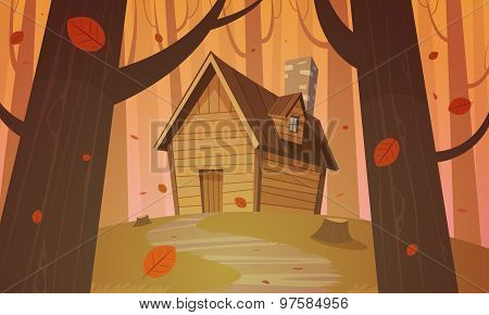 Cabin in woods - Autumn