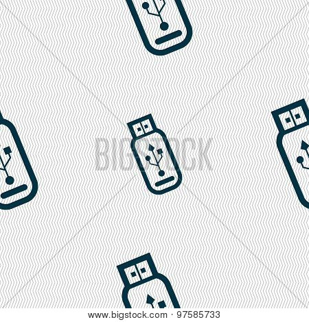 Usb Flash Drive Icon Sign. Seamless Pattern With Geometric Texture. Vector