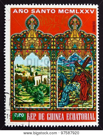 Postage Stamp Equatorial Guinea 1975 Cross Monastery, Jerusalem