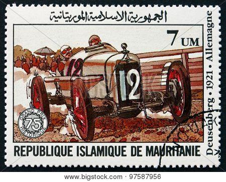 Postage Stamp Mauritania 1982 Duesenberg 1921, Race Car
