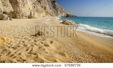 The beautiful beach of Egremni, on the island of Lefkada in Greece