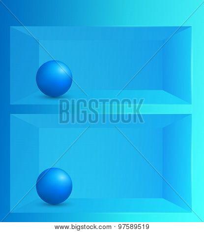 3D Effect Shelf Background Blue Ball