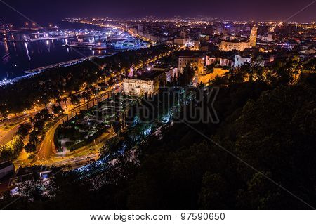 Night view of Malaga city, Spain