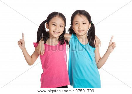 Happy Asian Twins Girls  Smile Show One Finger