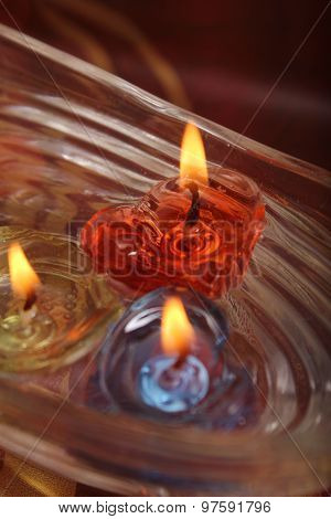 Heart Shape Candle Floating On Water, Festival Concept