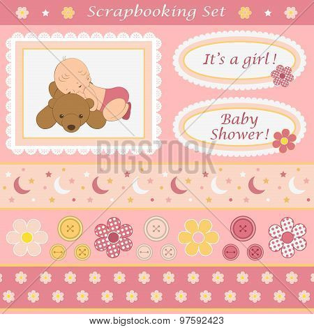 Digital scrapbooking set for baby girl.