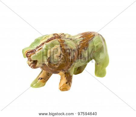 Figure Of A Lion Carved From Onyx. Isolated On White Background