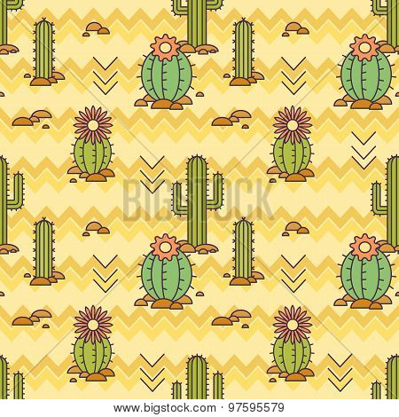 Vector Mexican pattern of cacti. Linear illustration. vector background
