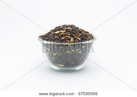 Coarse Black rice isolated