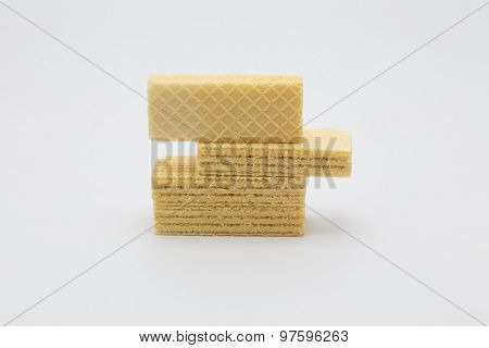 Vanilla wafer on white background