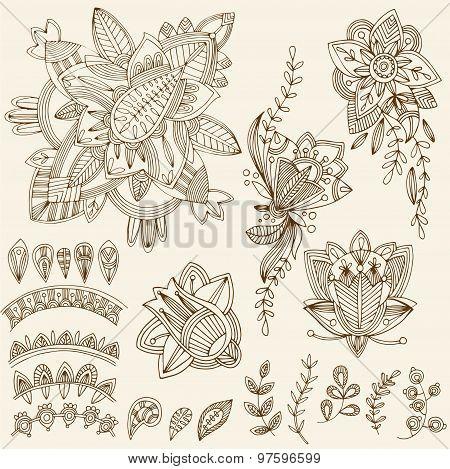 Mehndi Tattoo Doodles Set 2- Abstract Floral Illustration Design Elements On White Background