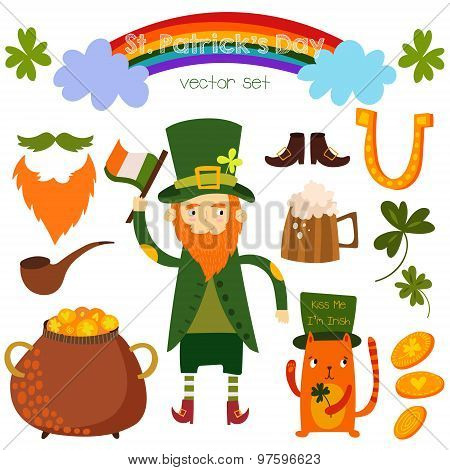 Beautiful St. Patrick's Set In Vector. Stylish Bright Concept Elements: St. Patrick's,cat, Clover, B