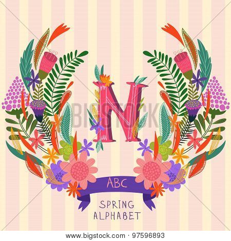 The Letter N. Floral Hand Drawn Monogram Made Of Flowers And Leafs In Vector. Spring Floral Abc Elem