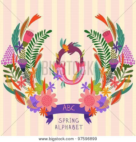 The Letter O. Floral Hand Drawn Monogram Made Of Flowers And Leafs In Vector. Spring Floral Abc Elem
