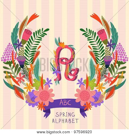 The Letter R. Floral Hand Drawn Monogram Made Of Flowers And Leafs In Vector. Spring Floral Abc Elem