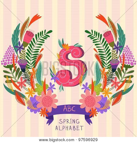 The Letter S. Floral Hand Drawn Monogram Made Of Flowers And Leafs In Vector. Spring Floral Abc Elem