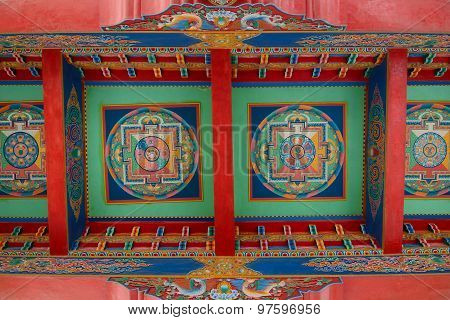 Tibetan Buddhist Painting At Ceiling