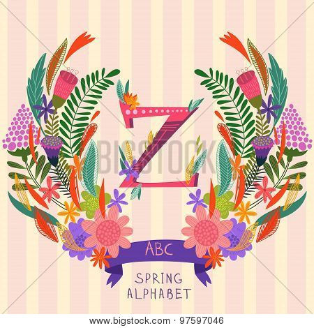 The Letter Z. Floral Hand Drawn Monogram Made Of Flowers And Leafs In Vector. Spring Floral Abc Elem