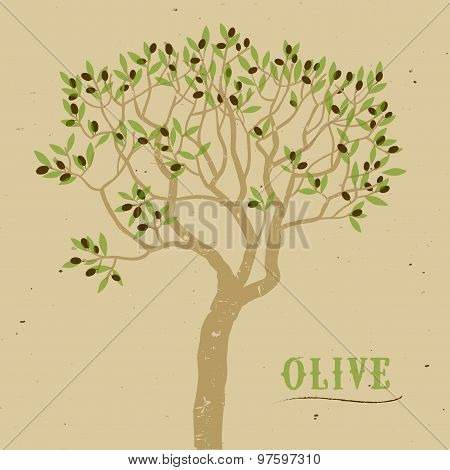 Olive Tree On Paper Background Logo