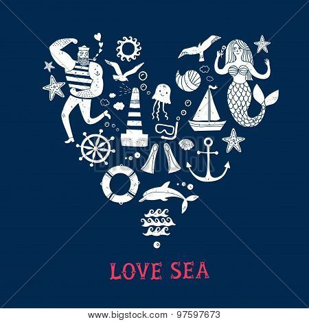 Sea Icons Cartoon Set